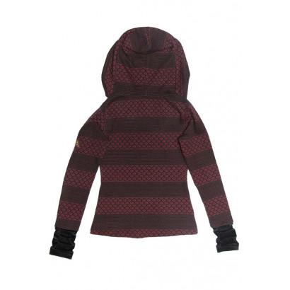 Milt mönstrad tröja med sammet i kapuschong